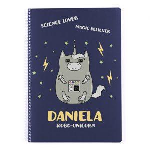 Regalos personalizados cuaderno unicornio robot