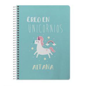 Regalos personalizados cuaderno unicornio