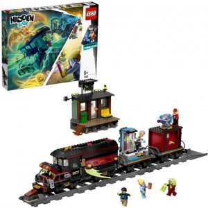 Tren de vapor sobre via (modelo orient express), con los vagones negros,y una parada pequeña