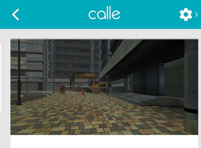 Calle con excavadora. Escena de realidad virtual de la aplicación VIRTEA y la escena calle ruidosa