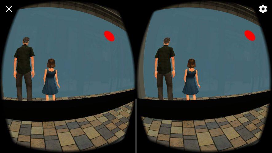 """PAdre e hija de espaldas con un globo rojo. Animaciones de realidad virtual de la aplicación VIRTEA en la escena """"calle ruidosa"""""""