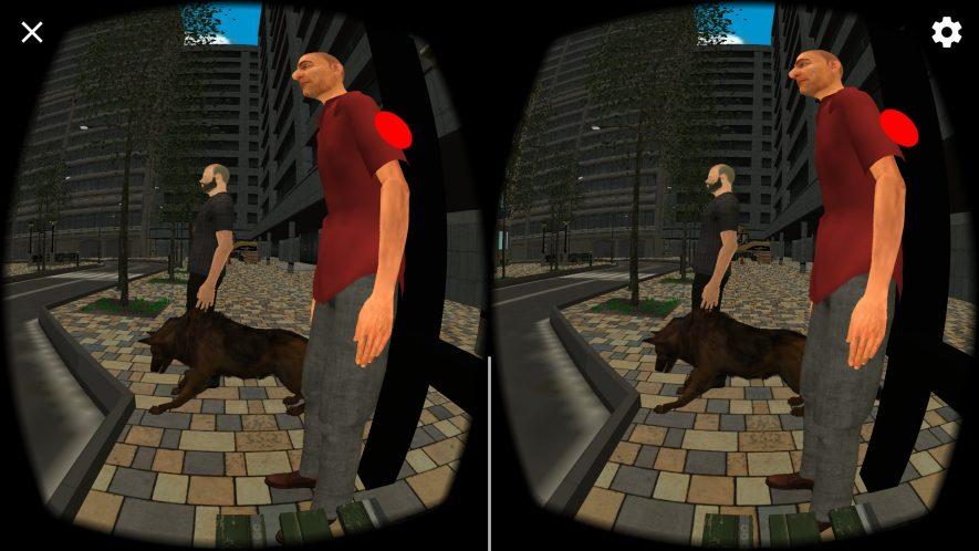 """imagen desde la perspectiva de unas gafas de realidad virtual en la que se ve a un hombre con su perro en la escena """"calle ruidosa"""""""