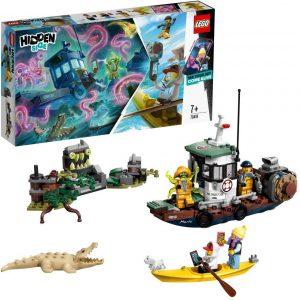 Barco encantado, con un cocodrilo, una barquita, un pescador con tentáculos...de la colección Lego Hidden side,