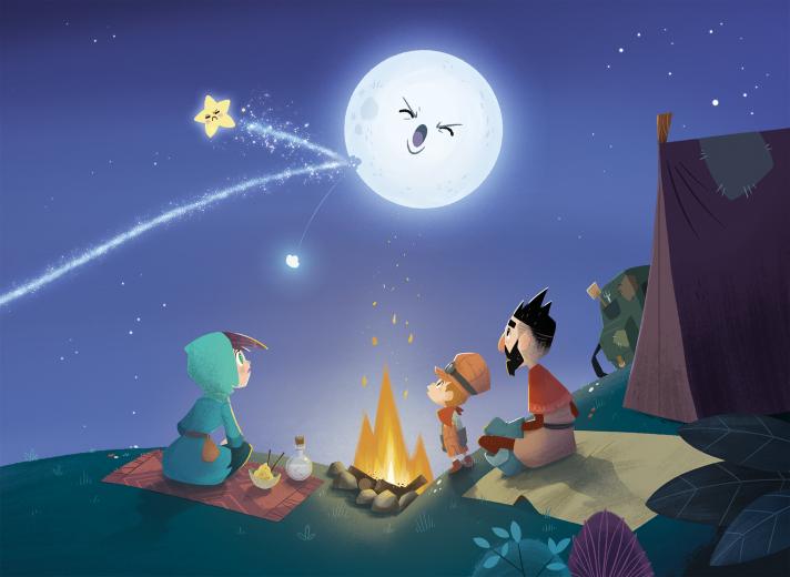 Dibujo de una familia alrededor de una hoguera mirando la luna y una estrella fugaz. Portada cuento Cachito de Mike Bonales, dedicado a la discapacidad infantil