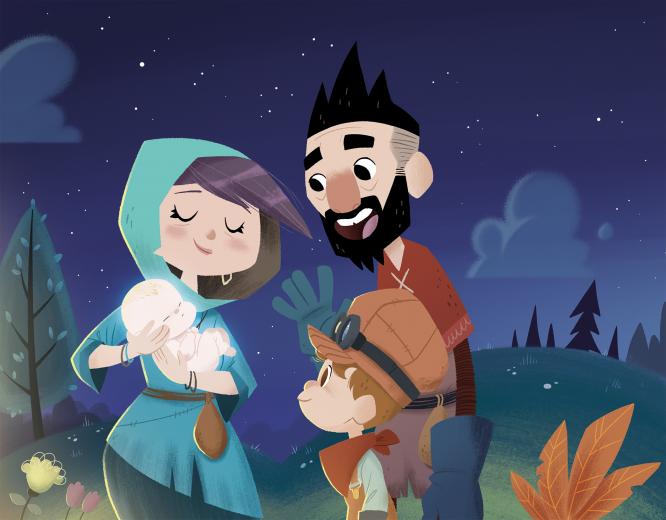 Ilustración de una familia con un niño pequeño y un bebé. PoIlustración de una familia con un niño pequeño y un bebé.Cachito de Mike Bonales, dedicado a la discapacidad infantil