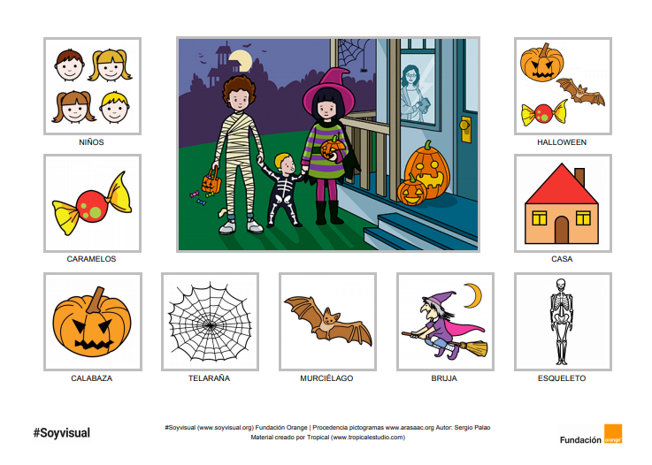 Tablero con pictogramas sobre Halloween