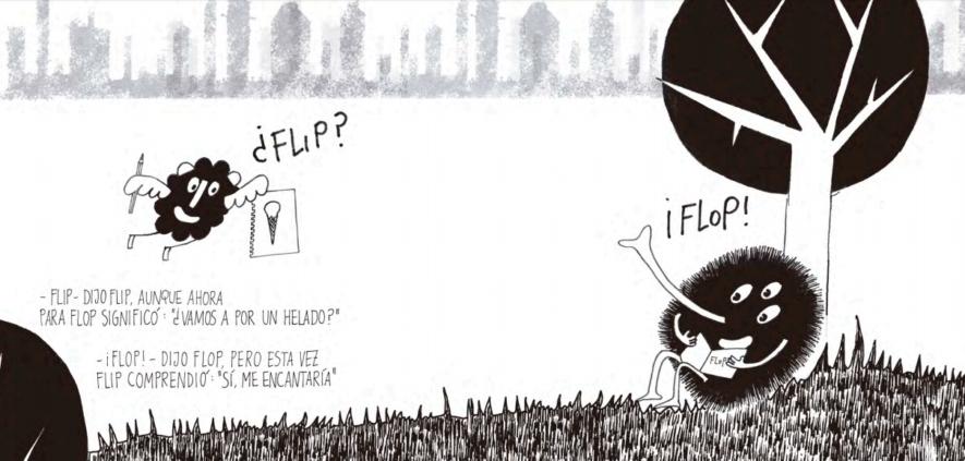 Flip y FLop se comunican con un dibujo. Flip & Flop. Uno está debajo de un árbol y el otro llega volando con un dibujo en una pata