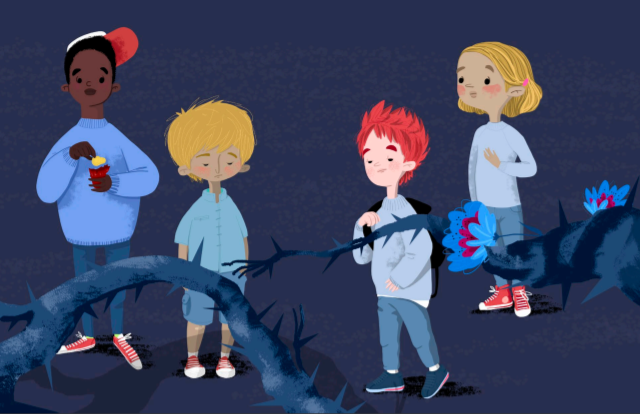 Niños con espinas alrededor.