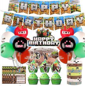 Kit fde fiesta de Minecraft con globos, pulseras, toppers para tarta y cupcakes e invitaciones
