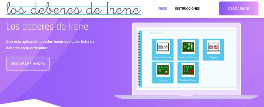 Aparece un pantallazo de la aplicación en el que hay cinco carpetas con iconos: ciencias de la naturaleza, ciencias sociales, matemáticas, inglés y lengua